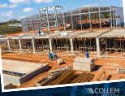 A construção da fábrica continua a todo vapor.