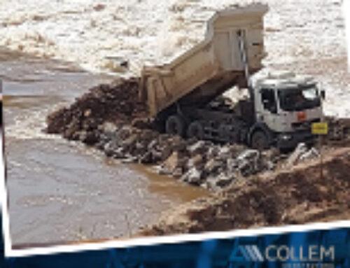 Collem inicia a obra de reforço do barramento e proteção das ombreiras no leito do Rio Doce